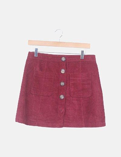 Falda mini pana burdeos