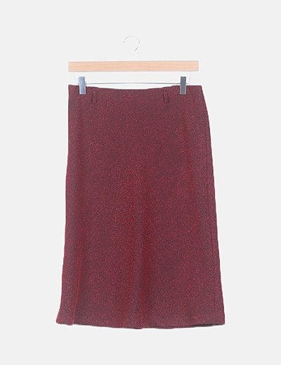 Falda midi texturizada bicolor