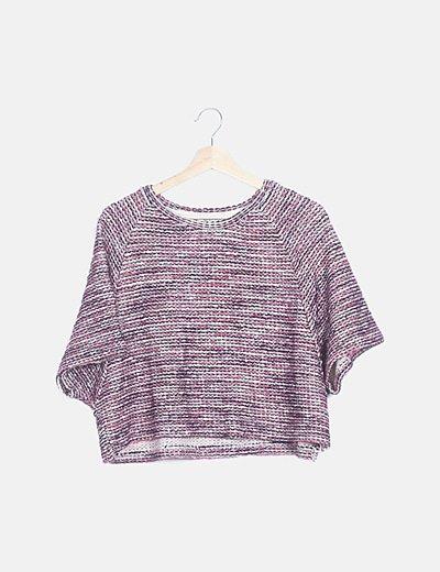 Jersey crop tweed
