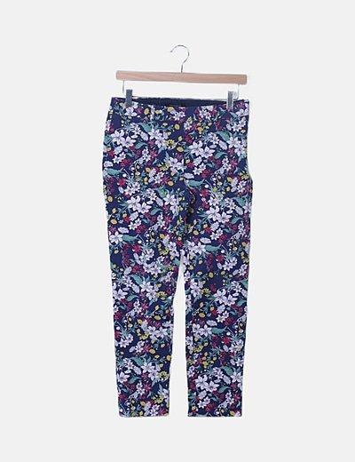 Pantalón azul marino floral
