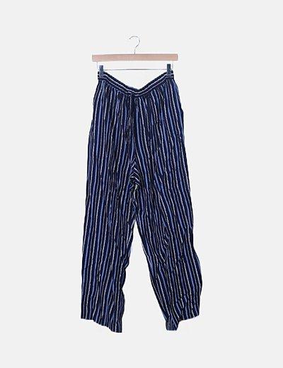 Pantalón baggy azul marino de rayas