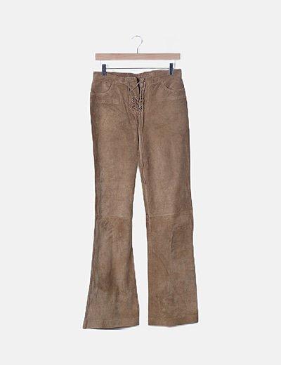 Pantalón piel marrón