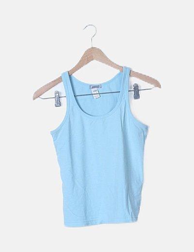 Camiseta elástica turquesa sin mangas