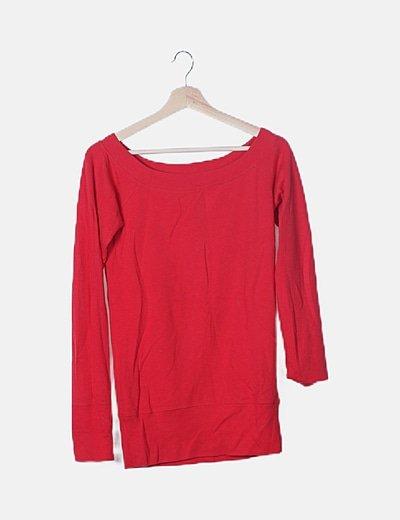 Sudadera roja cuello redondo