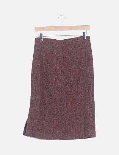 Falda midi bicolor