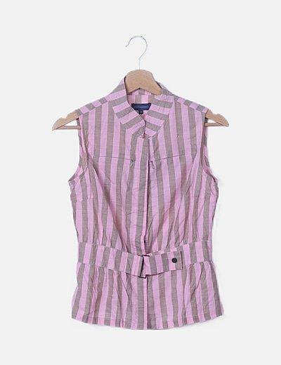 Blusa camisera rosa de rayas