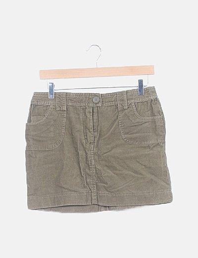 Falda mini verde de pana