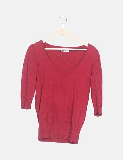 Jersey tricot granate ribete plisado