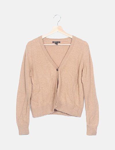 Chaqueta tricot marrón abotonada