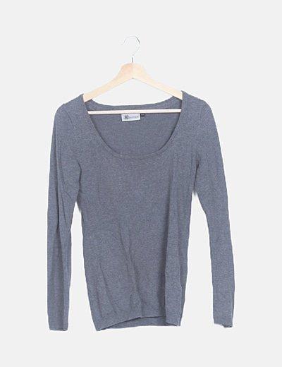 Jersey tricot gris ribetes plisados