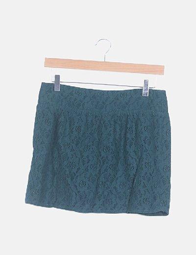 Falda mini verde floral