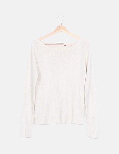 Jersey tricot beige escote canalé
