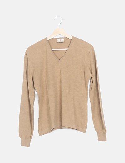 Jersey tricot marrón escote V