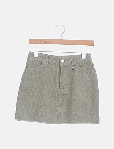 Mini falda pana verde