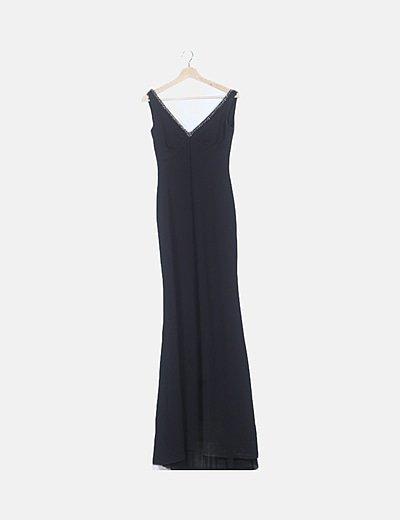 Vestido negro escote strass