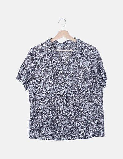Blusa gris estampado vintage