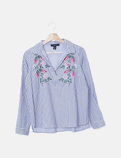 Blusa rayas bordados floral