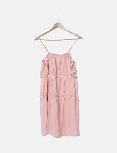 Vestido midi rosa nude con tirantes