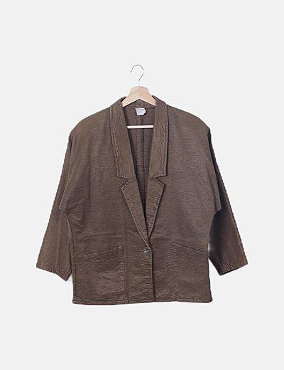 Blazer vintage texturizado marrón satinado