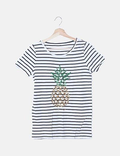 Camiseta rayas piña paillettes