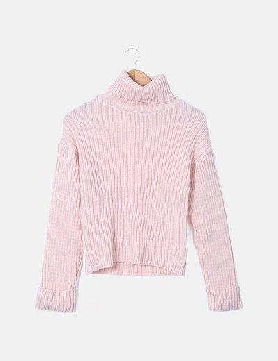 Jersey punto cuello vuelto rosa nude