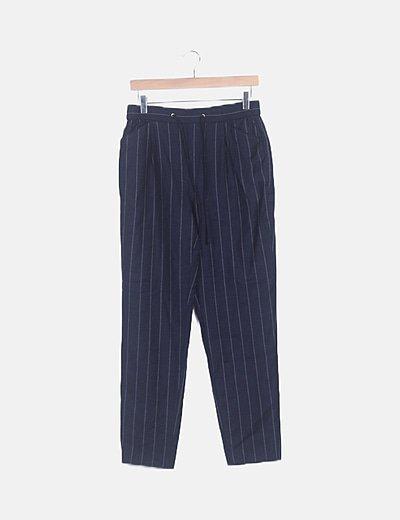 Pantalón baggy azul marino rayas