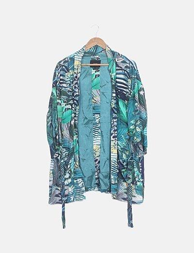 Kimono estampado tropical