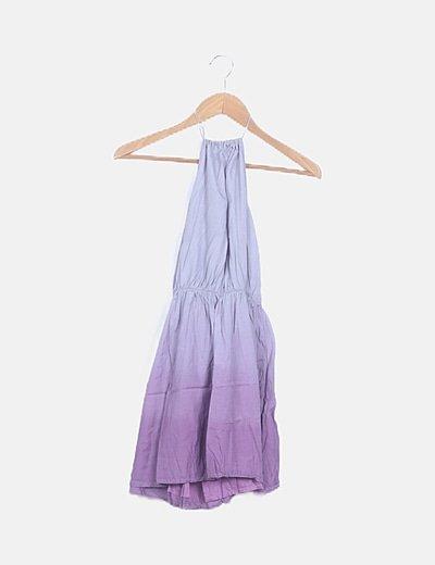 Vestido mini bicolor cuello halter