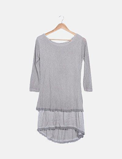 Vestido gris tricot combinado