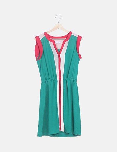 Vestido verde combinado