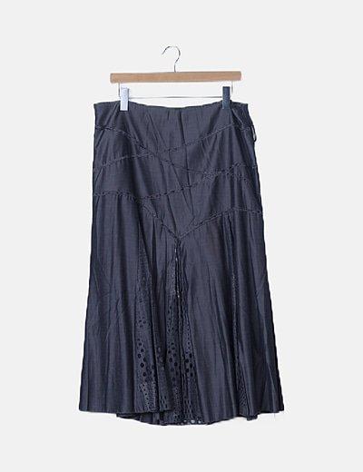 Falda gris combinada
