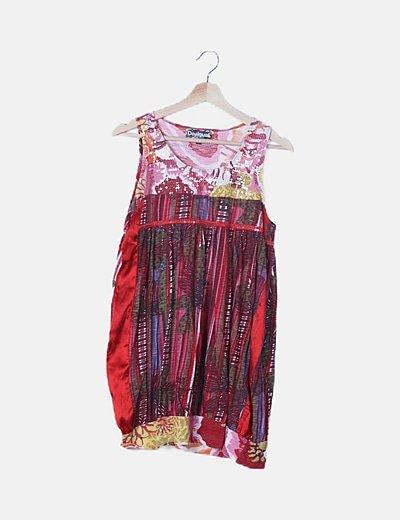 Vestido multicolor estampado detalle pailettes