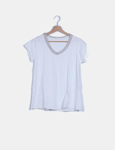Camiseta blanca ribete glitter