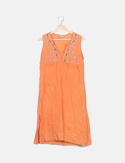 Vestido naranja bordado