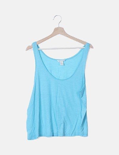 Camiseta básica azul sin mangas