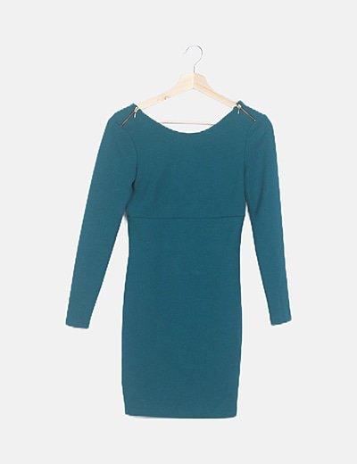 Vestido verde detalle cremalleras