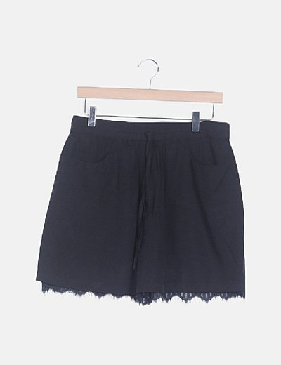 Falda-pantalón negro encaje