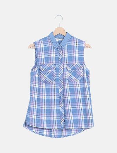Camisa de cuadros azul sin mangas