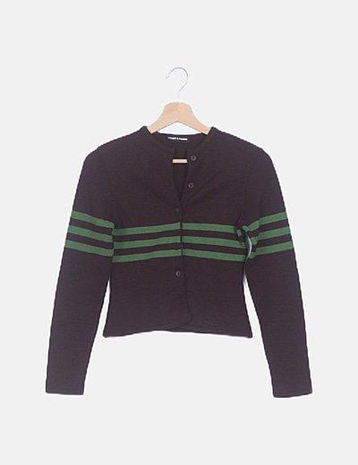 Chaqueta tricot marrón detalle rayas