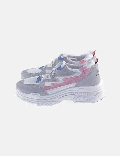 Sneaker plataforma blanca combinada