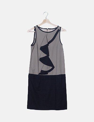 Vestido bicolor texturizado