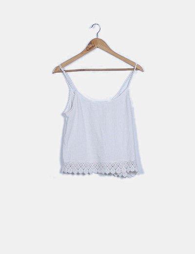 Camiseta blanca combinada crochet