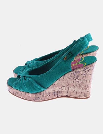 Sandalias verdes cuñas