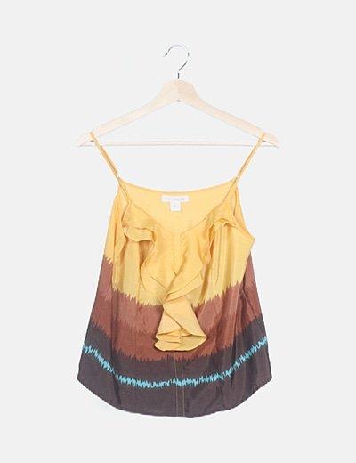 Blusa satinada multicolor chorrera