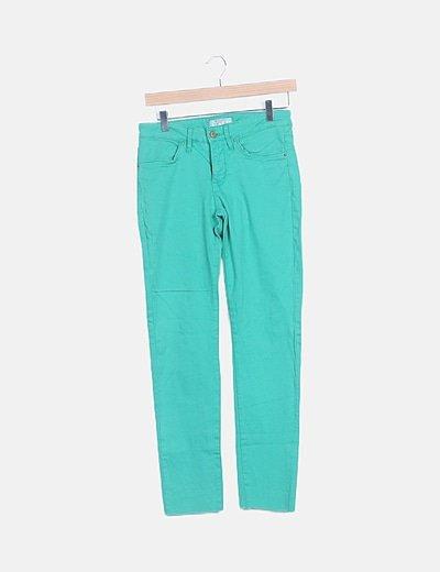 Pantalón denim recto verde