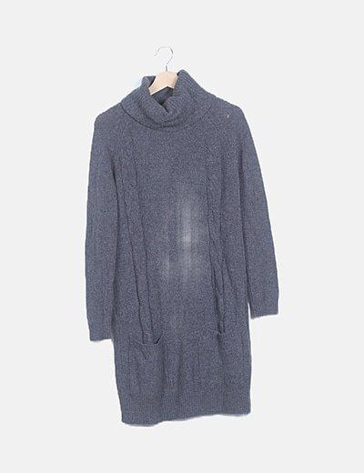 Vestido punto gris bolsillos