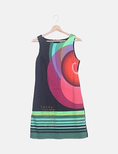 Vestido estampado multicolor sin mangas