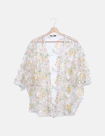 Kimono semitransparente bordado