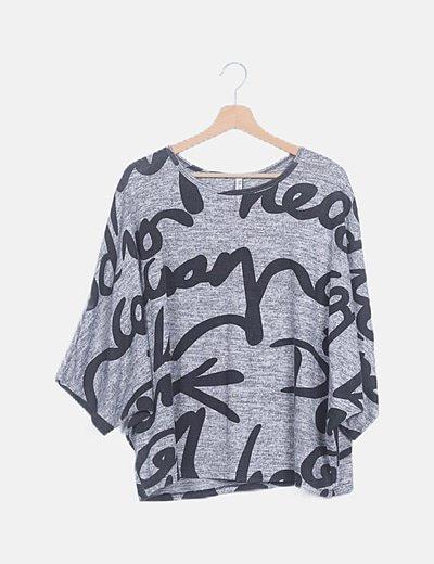 Jersey gris jaspeado print letras
