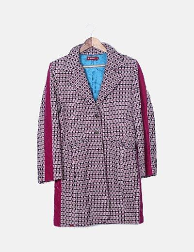 Abrigo tricot rosa de cuadros banda lateral